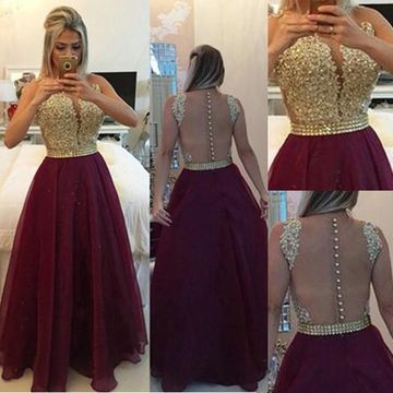 Long Burgundy A-line Sleeveless Zipper Beading Prom Dresses 2018 Chiffon
