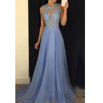 Long A-line Round Neck Sleeveless Backless Beading Prom Dresses 2018 Open Back Chiffon