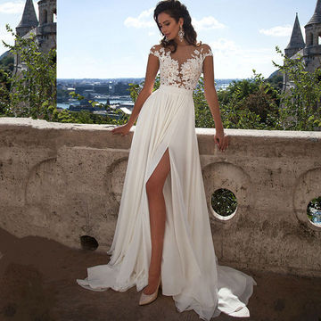 Long Sexy White Illusion Split Front A-line Short Sleeves Zipper Appliques Prom Dresses 2019 Chiffon