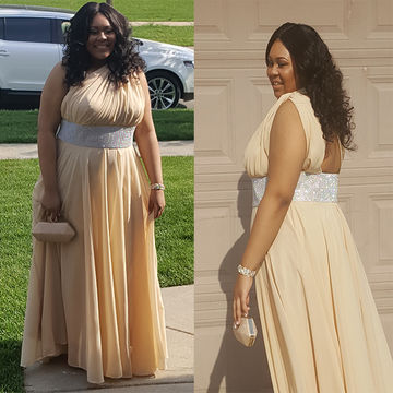 Long Plus Size A-line One Shoulder Sleeveless Backless Crystal Detailing Prom Dresses 2019 Open Back Chiffon