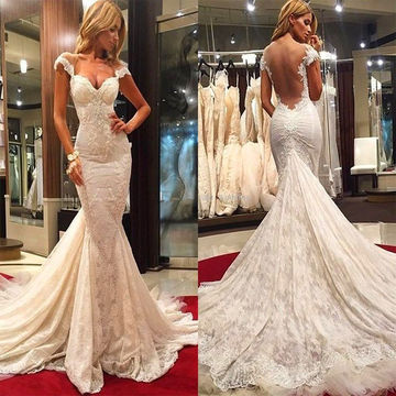 Ivory Long Wedding Dresses 2018 Mermaid Sleeveless Open Back Lace Sexy