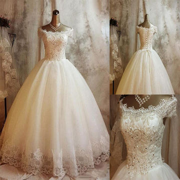 Ivory Long Wedding Dresses 2018 Ball Gown Sleeveless Lace