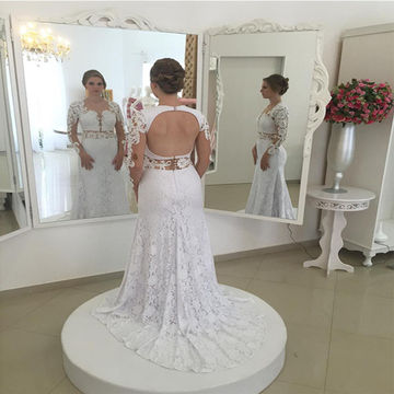 White Long Wedding Dresses 2018 A-line Long Sleeves Open Back Lace Sexy