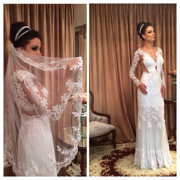 White Long Wedding Dresses 2018 Sheath Long Sleeves Lace Sexy For Short Girls