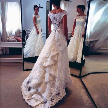 White Long Wedding Dresses 2018 A-line Lace For Short Girls