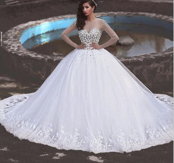 49%OFF White Long Wedding Dresses 2018 Ball Gown Long Sleeves ...