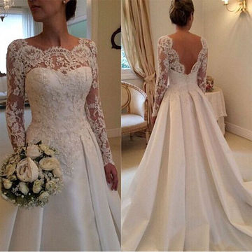 Long Wedding Dresses 2018 A-line Long Sleeves Open Back