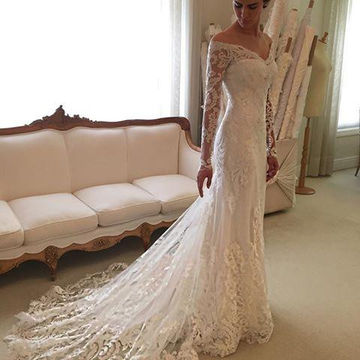 49%OFF White Long Wedding Dresses 2018 Sheath Long Sleeves Lace For ...