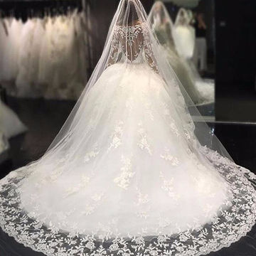 White Long Wedding Dresses 2018 Ball Gown Long Sleeves Lace Sexy