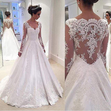 White Long Wedding Dresses 2018 Ball Gown V-Neck Long Sleeves Lace Sexy