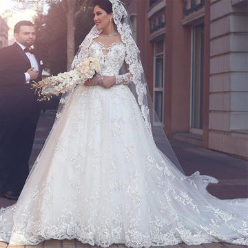 49%OFF White Long Wedding Dresses 2018 Ball Gown Long Sleeves Lace ...