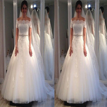White Long Wedding Dresses 2018 Ball Gown Lace