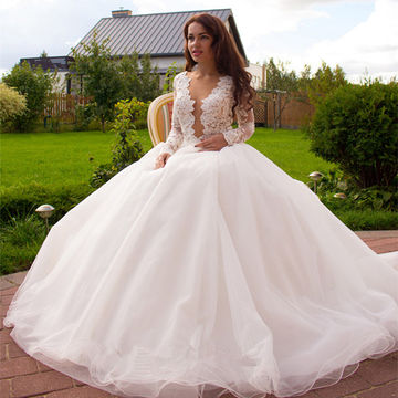 49%OFF Buttons Lace Wedding Dresses 2018 Ball Gown Long Sleeves A ...