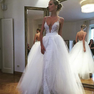 White Long Wedding Dresses 2018 A-line Sleeveless Open Back Lace Sexy