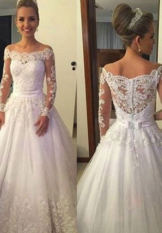 49%OFF White Wedding Dresses 2018 Ball Gown Long Sleeves Lace ...