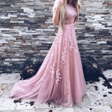 Long A-line Sleeveless Backless Appliques Prom Dresses 2018 Open Back