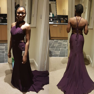 Long African Purple Mermaid Halter Sleeveless Criss Cross Prom Dresses 2018 Chiffon Sexy