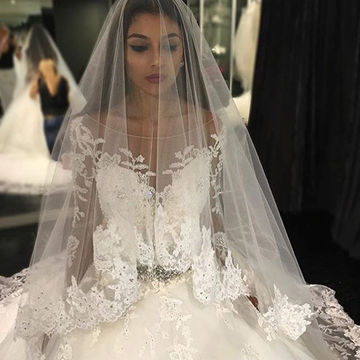 White Long Wedding Dresses 2018 Ball Gown Long Sleeves Lace