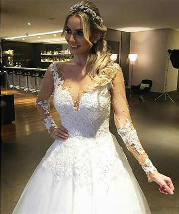 49%OFF White Long Wedding Dresses 2019 A-line Long Sleeves For Short ...