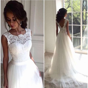 White Long Wedding Dresses 2018 Ball Gown Lace Sexy