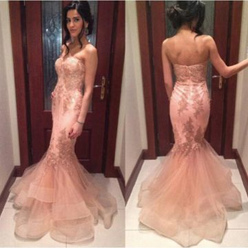 Long Prom Dresses 2018 Mermaid Strapless Sleeveless Sexy