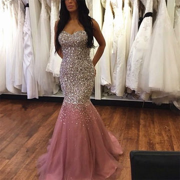 Long Pink Mermaid Sweetheart Sleeveless Zipper Prom Dresses 2018