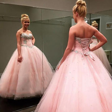 Pink Long Prom Dresses 2018 Ball Gown Strapless Sleeveless