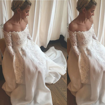 White Wedding Dresses 2018 A-line Long Sleeves Sexy