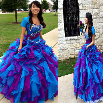 Blue Ball Gown Queen Anne Short Sleeves Zipper Beading Prom Dresses 2018