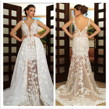 White Long Wedding Dresses 2018 A-line Sleeveless Lace
