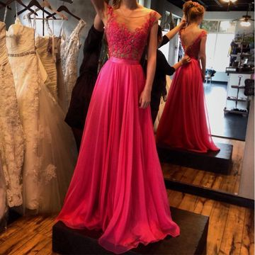 Hot Pink Long Prom Dresses 2019 A-line Sleeveless Chiffon For Short Girls