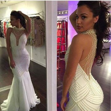 White Long Prom Dresses 2018 Mermaid Sleeveless Sexy