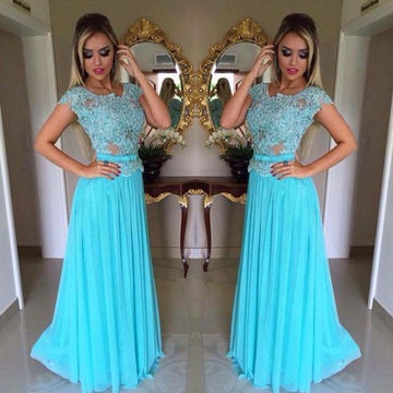 Long Blue A-line Capped Sleeves Zipper Appliques Prom Dresses 2018 Chiffon