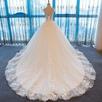 White Long Wedding Dresses 2019 Ball Gown Sexy