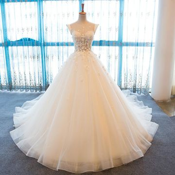 White Long Wedding Dresses 2018 Ball Gown Sexy