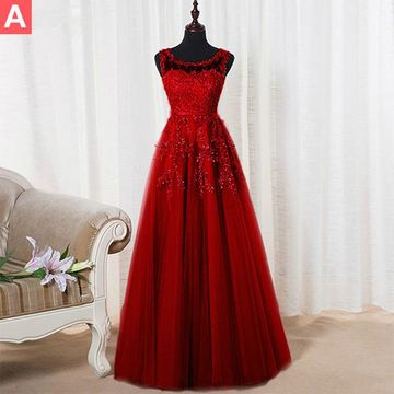 Red Bateau Neck Appliques Beading A-line Tulle Prom Dresses 2018