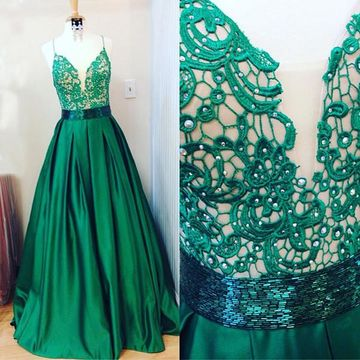 Long Junior Green A-line Halter Sleeveless Appliques Prom Dresses Ball Gowns 2018 Sexy