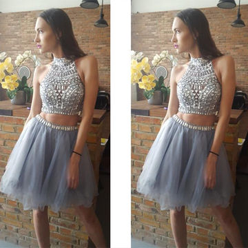 Sexy Silver A-line High Neck Sleeveless Zipper Beading Prom Dresses 2018 For Short Girls Two Piece