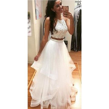 Long Junior White A-line Halter Sleeveless Beading Prom Dresses 2018 Two Piece For Short Girls