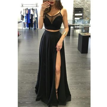 Black Illusion Spaghetti Straps Side-Slit Two Pieces Prom Dresses 2017