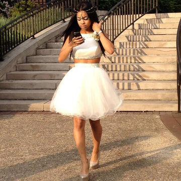 Cute White A-line Sleeveless Backless Beading Prom Dresses 2018 Open Back Two Piece