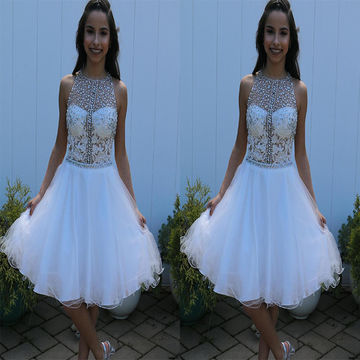 Cute White A-line Sleeveless Zipper Appliques Prom Dresses 2018