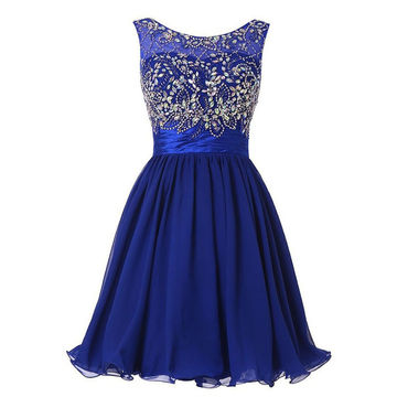 49%OFF Cute Blue A-line Sleeveless Zipper Beading Homecoming Dresses ... 83322a3b3