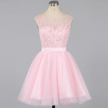 Cute Pink A-line Capped Sleeves Zipper Appliques Homecoming Dresses 2018
