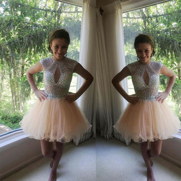 Cute A-line Capped Sleeves Zipper Beading Prom Dresses 2018