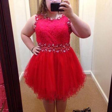 Plus Size Cute Red A-line Sleeveless Zipper Crystal Detailing Prom Dresses 2018 Lace