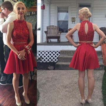 Red A-line Halter Sleeveless Buttons Prom Dresses 2018 Chiffon Two Piece