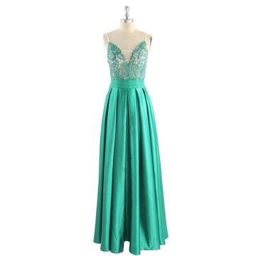 Long Sexy Green A-line Spaghetti Straps Sleeveless Zipper Appliques Prom Dresses 2018