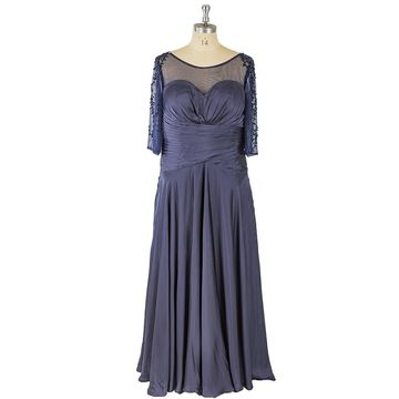 Tulle Grey Plus Size Vintage Empire Waist Crystal Draping Sequins Evening/Formal/Prom Dresses 2018
