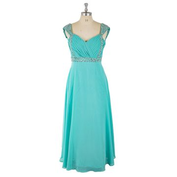 Long Plus Size A-line Straps Capped Sleeves Corset Beading Bridesmaid Dresses / Prom Dresses 2019 Chiffon